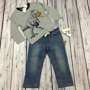 Gap Boys 12 18 M or 2T Dinosaur & Jeans Outfit